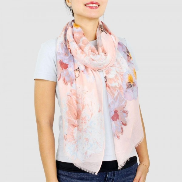 "Women's Lightweight Pink Floral Butterfly Print Scarf.  - Approximately 27.5"" W x 70.5"" L - 1005 Polyester"
