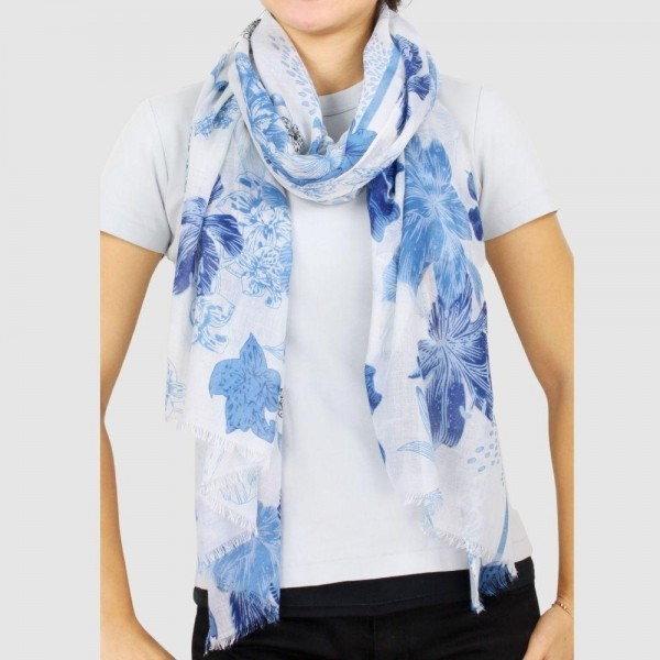 "Women's Lightweight Floral Print Scarf.  - Approximately 35.5"" W x 70.5"" L  - 100% Polyester"