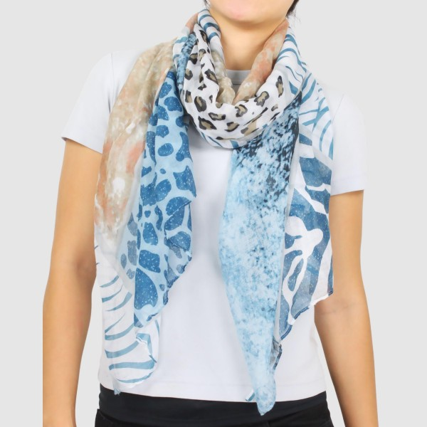 "Women's Lightweight Multi Animal Print Scarf.  - Approximately 35"" W x 70"" L  - 100% Polyester"