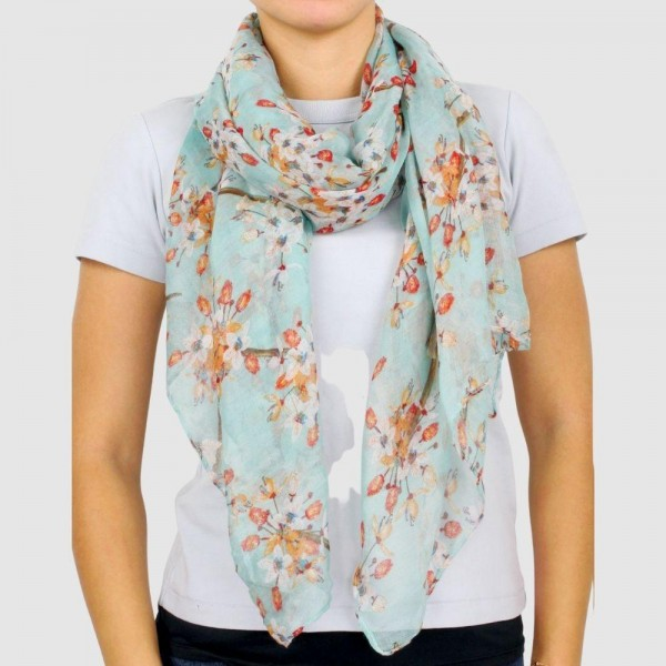 "Women's Lightweight Floral Print Scarf.  - Approximately 27.5"" W x 70.5"" L  - 100% Polyester"