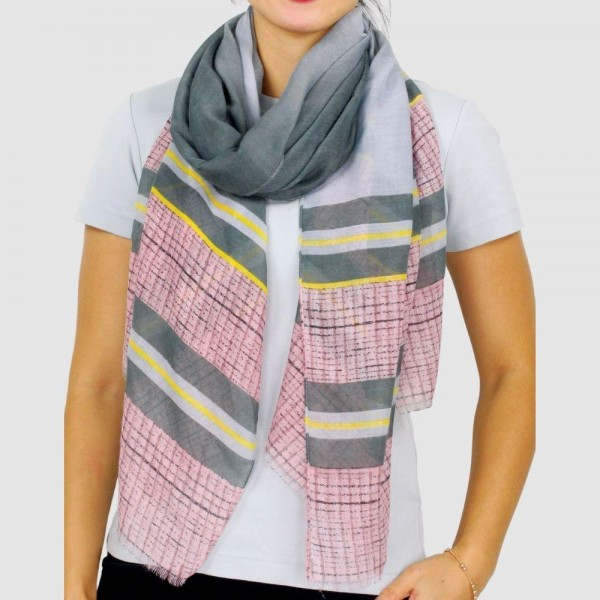 "Women's Lightweight Stripe and Check Print Scarf.  - Approximately 27.5"" W x 70"" L - 100% Polyester"