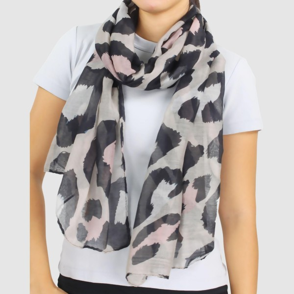 "Women's Lightweight Enlarged Leopard Print Scarf.  - Approximately 35"" W x 70"" L - 100% Polyester"