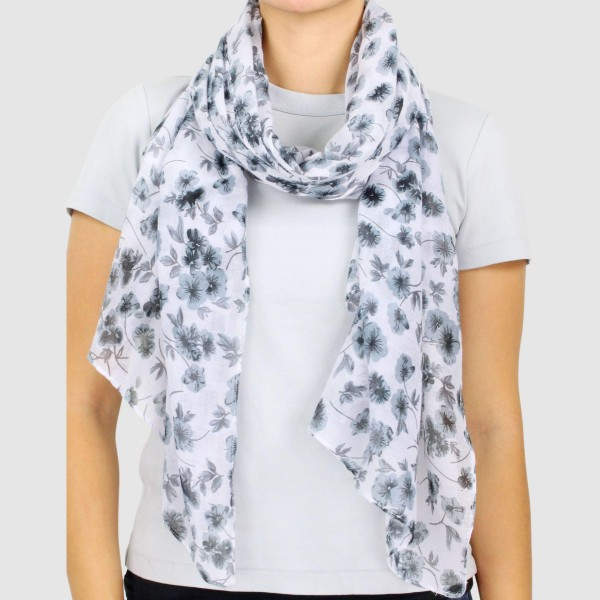 "Women's Lightweight Floral Print Scarf.  - Approximately 35"" W x 70"" L - 100% Polyester"