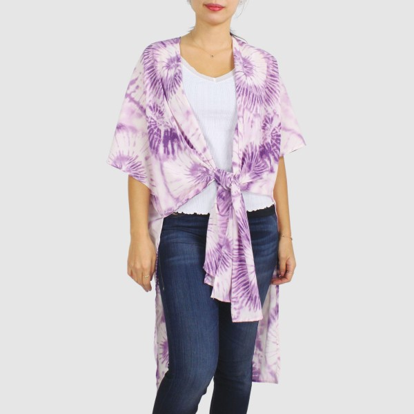 """Women's Lightweight Tie-Dye Kimono.  - One size fits most 0-14 - Approximately 37"""" L - 100% Polyester"""