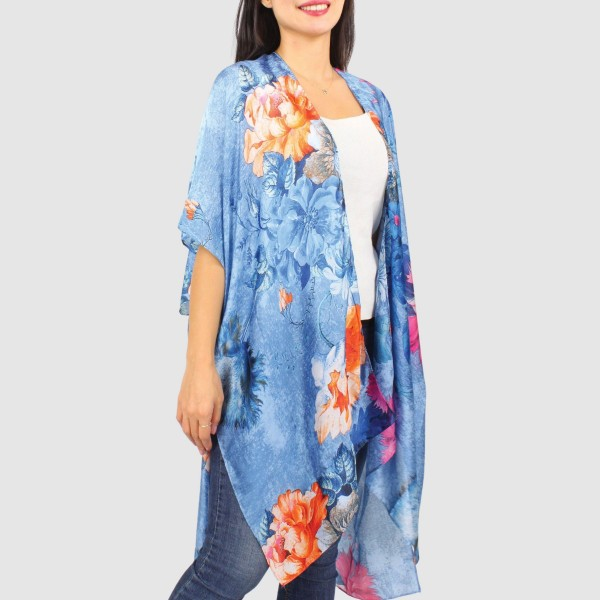 "Women's Lightweight Floral Print Silk Kimono.  - One size fits most 0-14 - Approximately 37"" L - 100% Polyester"