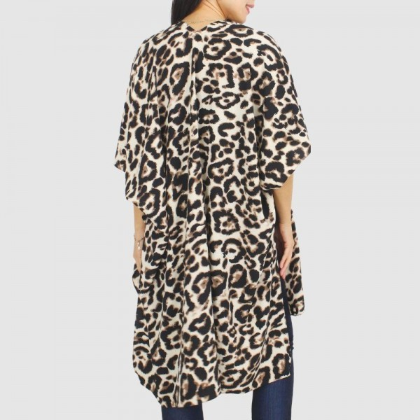 """Women's Leopard Print Kimono.  - One size fits most 0-14 - Approximately 35.5"""" in Length - 100% Polyester"""