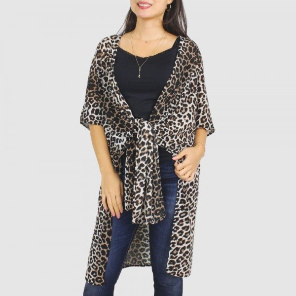 "Women's Leopard Print Stretch Kimono.  - One size fits most 0-14 - Approximately 31.5"" in Length - 100% Polyester"