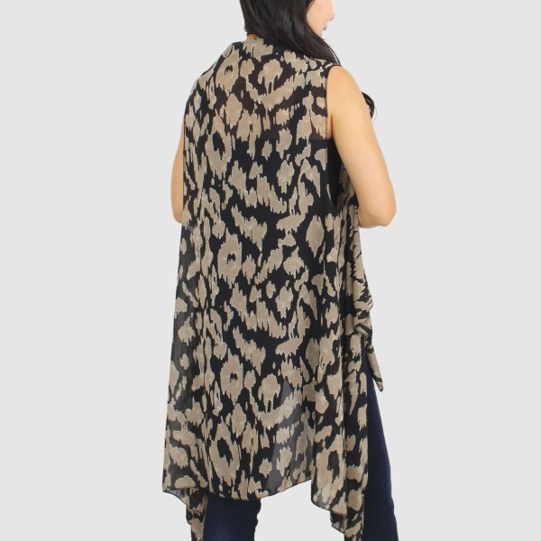 "Women's Lightweight Animal Print Vest.  - One size fits most 0-14 - Approximately 33"" L  - 100% Polyester"