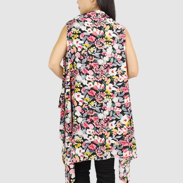 """Women's Lightweight Floral Print Vest.  - One size fits most 0-14 - Approximately 33"""" L  - 100% Polyester"""