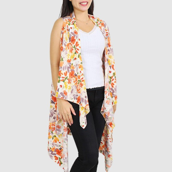 "Women's Lightweight Floral Print Vest.  - One size fits most 0-14 - Approximately 33"" L  - 100% Polyester"