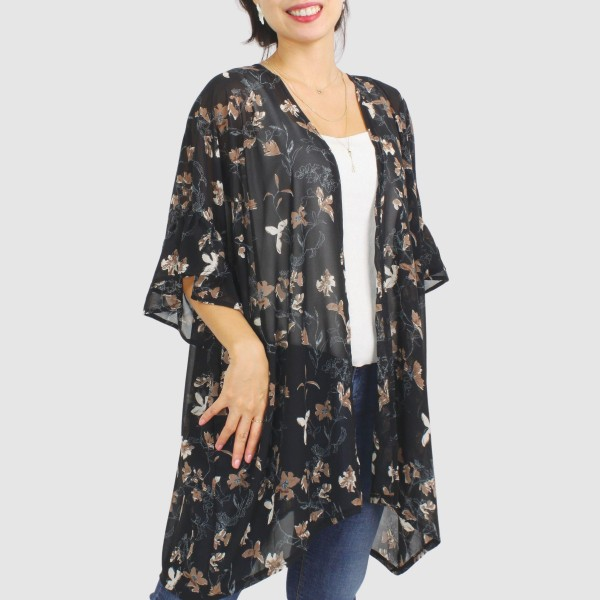 """Women's Lightweight Sheer Vintage Floral Print Kimono.  - One size fits most 0-14 - Approximately 35"""" L  - 100% Polyester"""