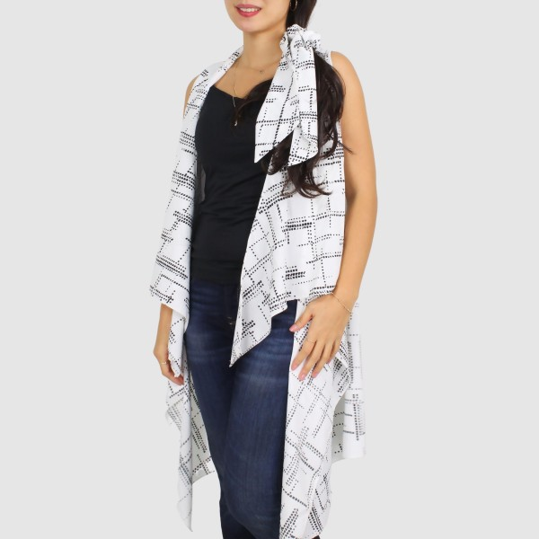"Women's Lightweight Geometric Dot Print Vest.  - One size fits most 0-14 - Approximately 33"" L - 100% Polyester"