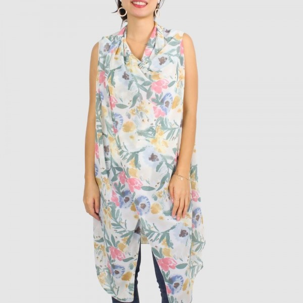 "Women's Lightweight Flower Print Vest/Cover Up.  - One size fits most 0-14 - Approximately 35"" in Length - 100% Polyester"