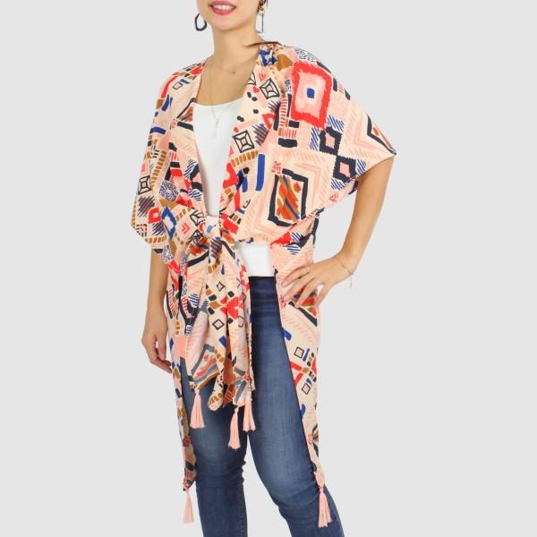 "Women's Lightweight Multi Aztec Print Tassel Kimono.  - One size fits most 0-14 - Approximately 37"" L - 100% Polyester"