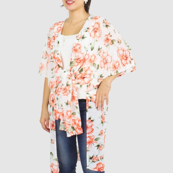 "Women's Floral Print Jersey Knit Kimono.  - One size fits most 0-14 - Approximately 37"" L - 100% Polyester"