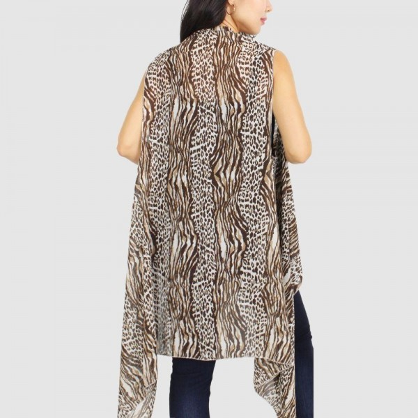 "Women's Lightweight Animal Print Vest/Cover Up.  - One size fits most 0-14 - Approximately 35"" in Length - 100% Polyester"