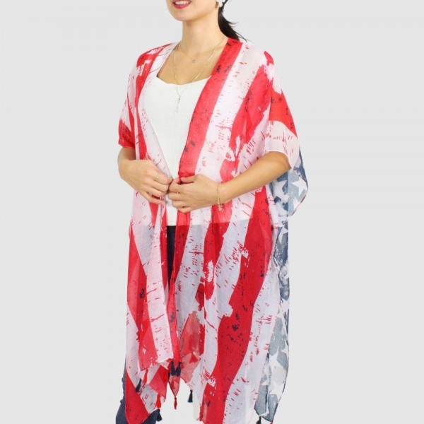 """Women's Lightweight Distressed USA Tassel Kimono.  - One size fits most 0-14 - Approximately 35.5"""" in Length - 100% Polyester"""