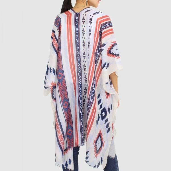 """Women's Lightweight Aztec Sheer Kimono.  - One size fits most 0-14 - Approximately 35.5"""" in Length - 100% Polyester"""