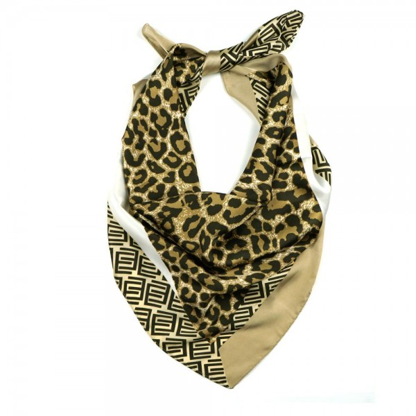 "Cheetah Print Bandana Scarf Featuring Geometric Accents.   - Approximately 27"" x 27""  - 100% Polyester  - Versatile Styling"