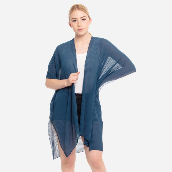 "Women's Lightweight Sheer Pleated Kimono.  - One size fits most 0-14 - Approximately 37"" L - 100% Polyester"