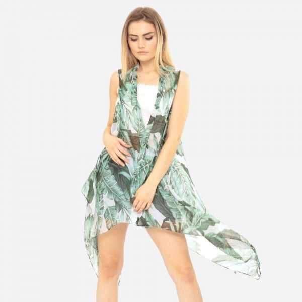 Sleeveless Lightweight Tropical Leaf Print Kimono.   - 100% Polyester  - One Size Fits Most