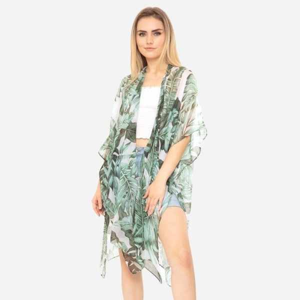 Lightweight Tropical Leaf Print Kimono.   - 100% Polyester  - One Size Fits Most