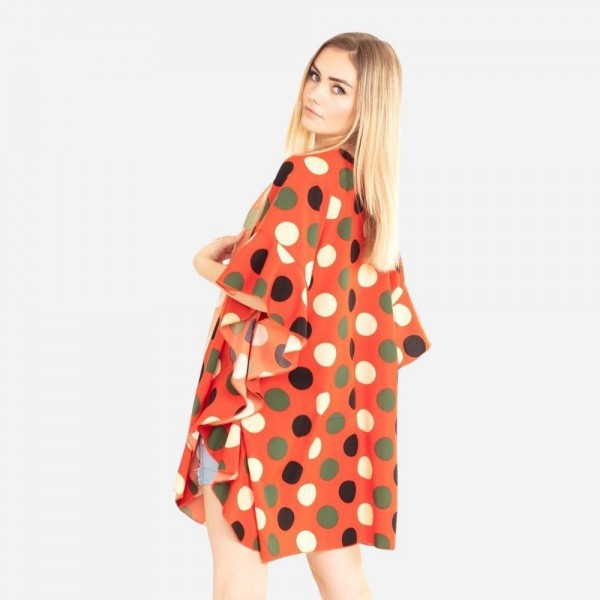 Polka Dot Kimono Featuring Ruffle Accents on the Sleeves.   - 100% Polyester  - One Size Fits Most