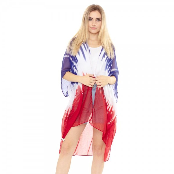 Wholesale women s Lightweight USA Tie Dye Print Kimono One fits most Polyester