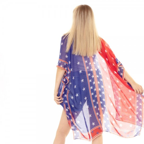USA Themed Kimono Featuring Star Accents.   - 100% Polyester  - One Size Fits Most