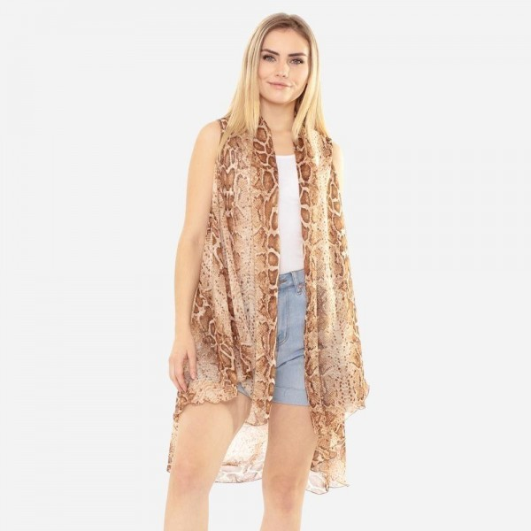 Snakeskin Print Vest Kimono.   - 100% Polyester  - One Size Fits Most