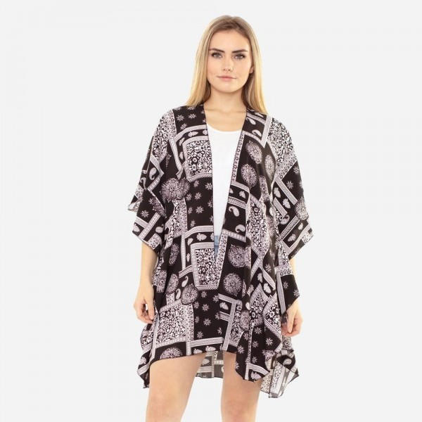 """Women's Lightweight Paisley Damask Print Kimono.  - One size fits most 0-14 - Approximately 37"""" in Length - 100% Polyester"""