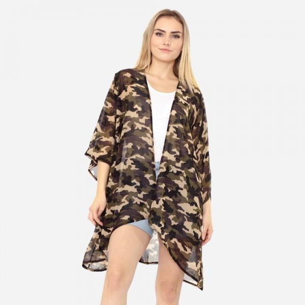 Wholesale women s Lightweight Sheer Camouflage Kimono One fits most Polyester