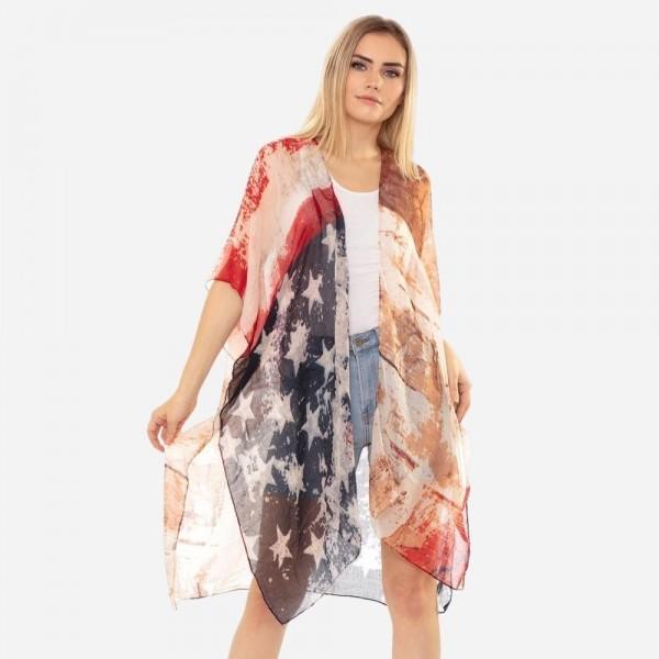 Wholesale women s Lightweight Sheer Vintage USA Print Kimono One fits most Polye