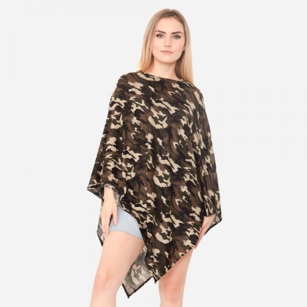 """Women's Lightweight Camouflage Print Poncho.  - One size fits most 0-14 - Approximately 37"""" in Length - 95% Polyester / 5% Spandex"""