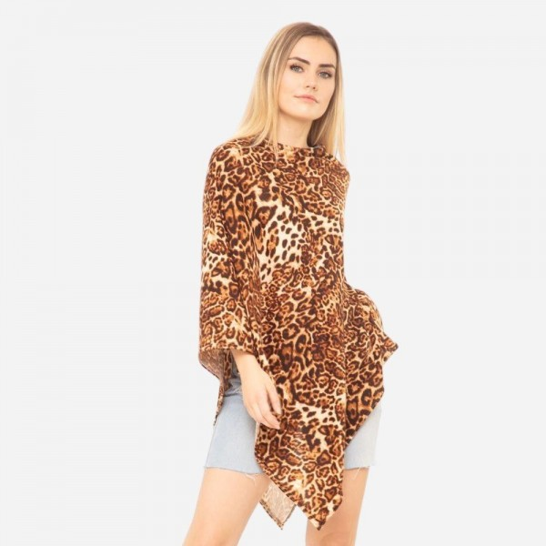 """Women's Lightweight Leopard Print Poncho.  - One size fits most 0-14 - Approximately 37"""" in Length - 95% Polyester / 5% Spandex"""
