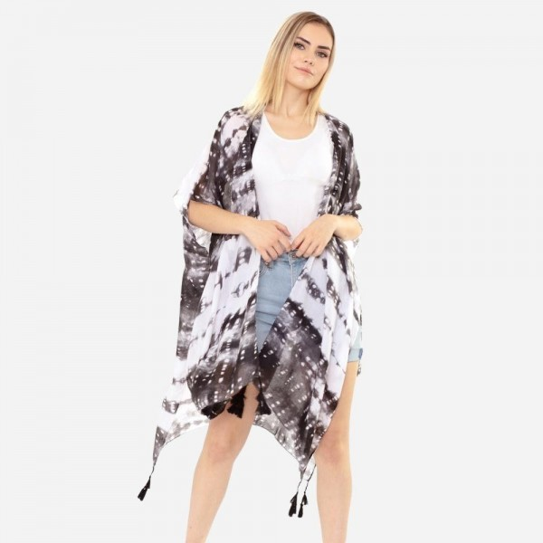 """Women's Lightweight Tie Dye Tassel Kimono.  - One size fits most 0-14 - Approximately 37"""" in Length - 100% Polyester"""