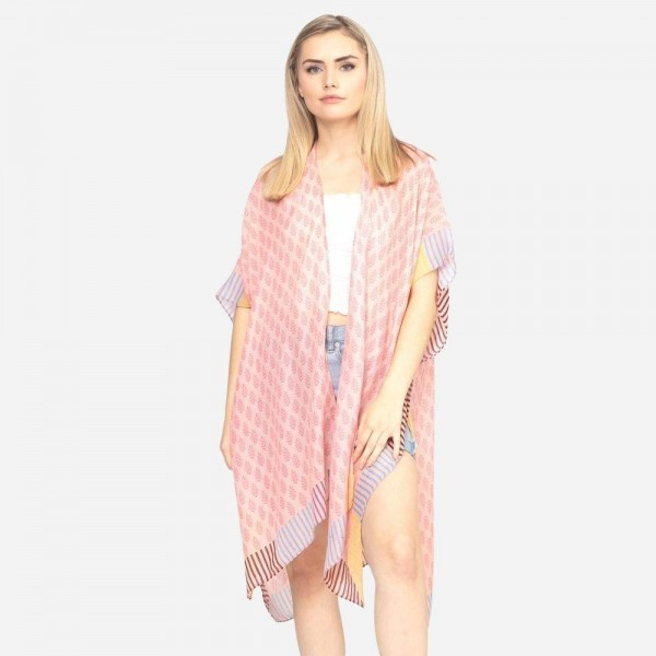 Wholesale women s Lightweight Geometric Stripe Print Kimono One fits most Polyes