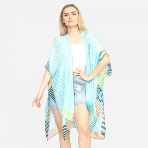 """Women's Lightweight Geometric Stripe Print Kimono.  - One size fits most 0-14 - Approximately 37"""" in Length - 100% Polyester"""
