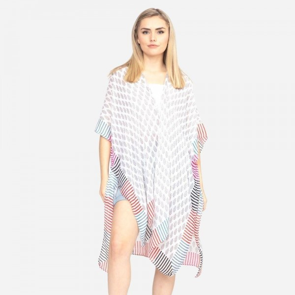"Women's Lightweight Geometric Stripe Print Kimono.  - One size fits most 0-14 - Approximately 37"" in Length - 100% Polyester"
