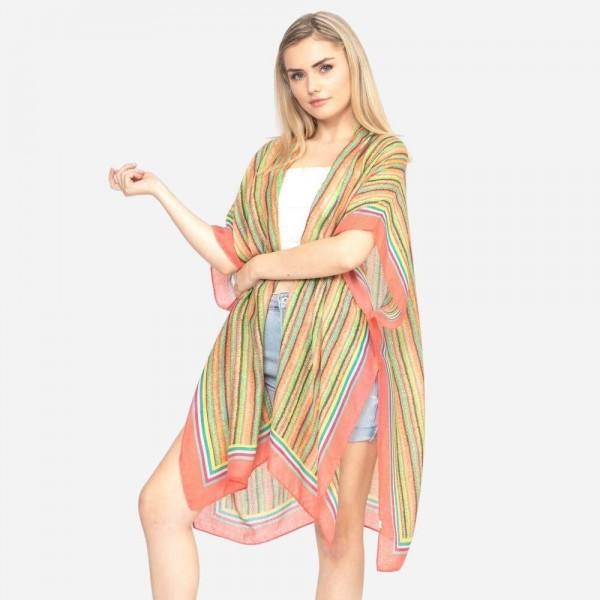 "Women's Lightweight Bordered Multicolor Stripe Print Kimono.  - One size fits most 0-14 - Approximately 37"" in Length - 100% Polyester"