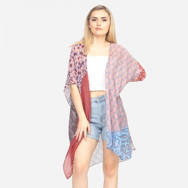 "Women's Lightweight Geometric Print Kimono.  - One size fits most 0-14 - Approximately 37"" in Length - 100% Polyester"