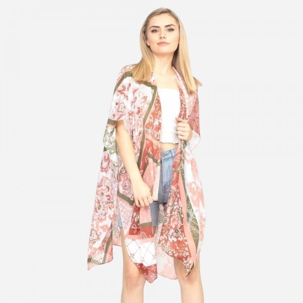 "Women's Lightweight Geometric Floral Print Kimono.  - One size fits most 0-14 - Approximately 37"" in Length - 100% Polyester"