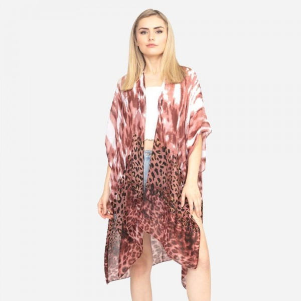 "Women's Lightweight Tie Dye Animal Print Kimono.  - One size fits most 0-14 - Approximately 37"" in Length - 100% Polyester"