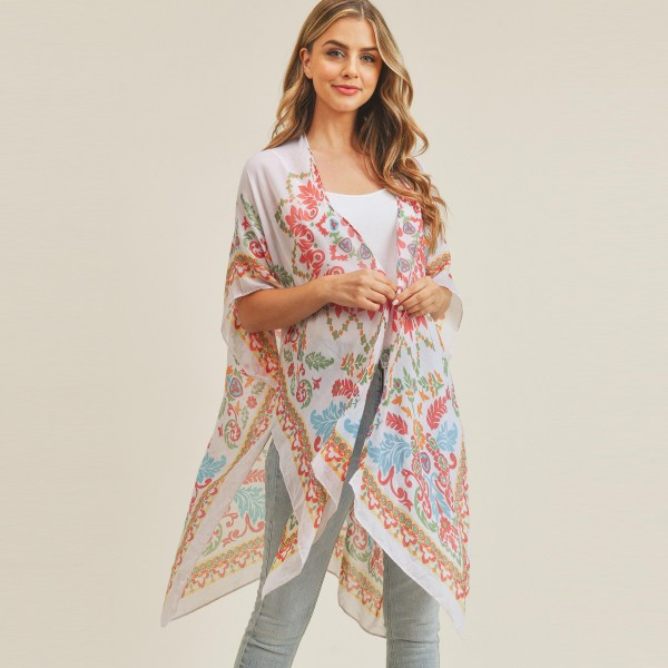 Wholesale women s Lightweight Damask Print Kimono One fits most Polyester
