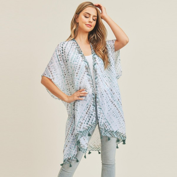 "Women's Lightweight Tie Dye Tassel Kimono.  - One size fits most 0-14 - Approximately 37"" in Length - 100% Polyester"