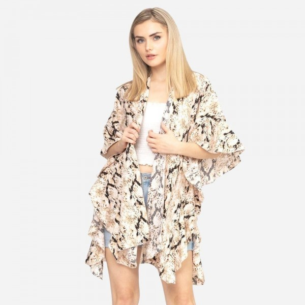 "Snakeskin Kimono Featuring Ruffled Details on Sleeves.   - One Size Fits Most 0-14 - 100% Polyester - Approximately 33"" L"