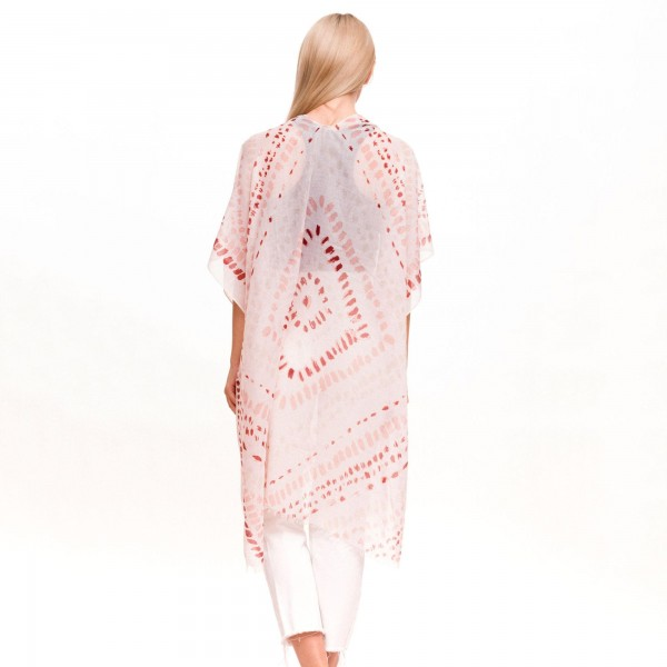 "Women's Lightweight Geometric Tie-Dye Kimono.  - One size fits most 0-14 - Approximately 37"" L - 100% Polyester"