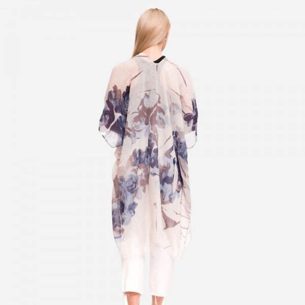 "Women's Lightweight Blue Floral Print Kimono.  - One size fits most 0-14 - Approximately 37"" L - 100% Polyester"
