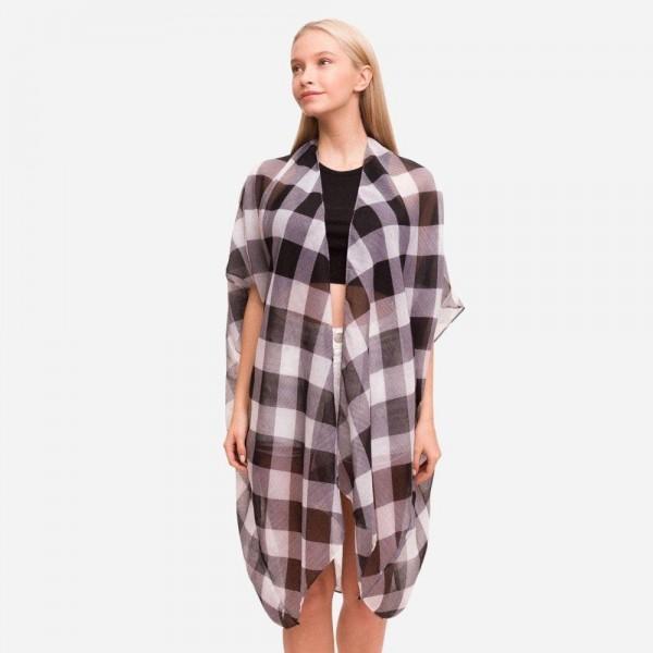 "Women's Lightweight Buffalo Check Kimono.  - One size fits most 0-14 - Approximately 37"" L - 100% Polyester"