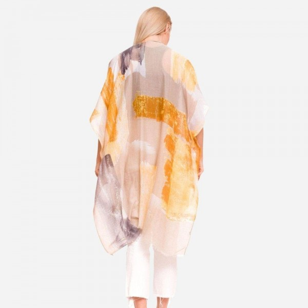 Women's Lightweight Beige Distressed Color Block Kimono.